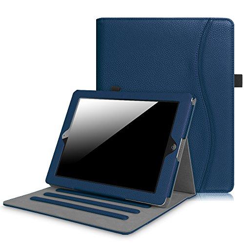 Fintie Hülle für iPad 2 / iPad 3 / iPad 4 - [Eckenschutz] Multi-Winkel Betrachtung Folio Stand Schutzhülle Cover Case mit Dokumentschlitze, Auto Schlaf/Wach Funktion, Marineblau