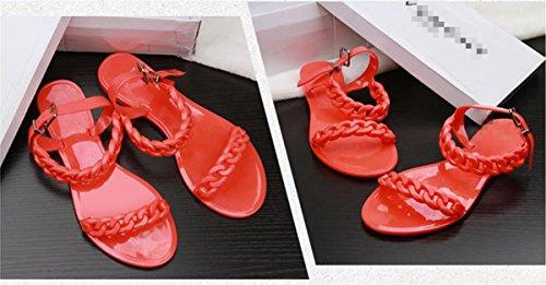 SHUNLIU Frauen Sommer Sandalen Flach Bonbonfarben Kette Offene Sandalen Orange