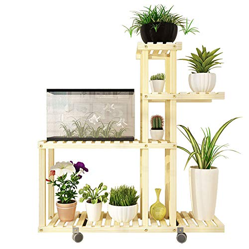 Feste Holzblume Stand Plant Ladder Bonsai Display Rack Multi-Function Storage Cabinet Indoor-Outdoor-Ecke Dekoration,Woodcolor,95X98CM - 680 Metall