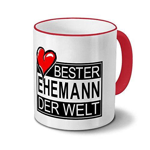 Tasse mit Namen Bester Ehemann der Welt - Motiv Textart-Layout 4 - Namenstasse, Kaffeebecher, Mug, Becher, Kaffeetasse - Farbe Rot