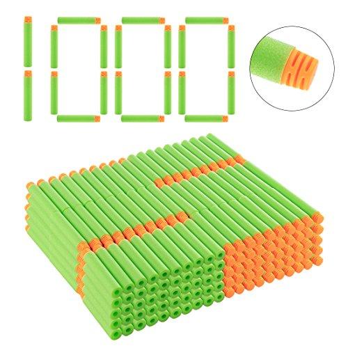 Riva776Yale 1000 Stück Darts Pfeile Für Nerf N-Strike Elite Bullets Zubehör für Nerfs Nachfüll- Orange Kopf + Hellgrün Schwamm