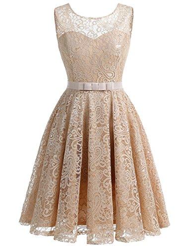 IVNIS RS90016 Damen Spitzen Kleider Cocktail Kleid Aline Vintage Kleid Retro 50jährige mit Flieger Champagne 3XL