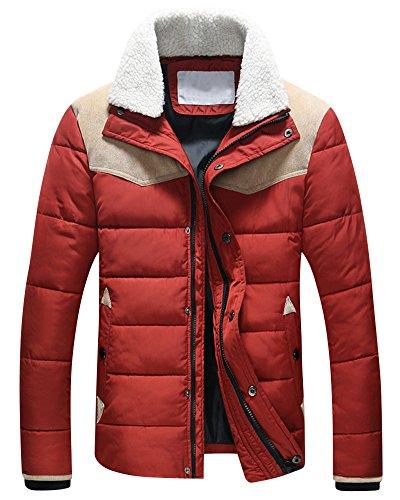 Steppjacke Herren Jacke mit Stehkragen Übergangsjacke Warm Daunenjacke Rot