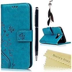 Funda para Samsung Galaxy S6,Libro de Cuero Impresión Con Tapa y Cartera,Correa de mano - Mavis's Diary Carcasa PU Leather Con TPU Silicona Case Interna Suave,Soporte Plegable,Ranuras para Tarjetas y Billetera,Cierre Magnético - Diseño de Mariposa y Flor, Azul