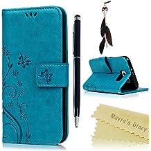 Funda Libro para Samsung Galaxy S6 de Cuero Impresión Con Tapa y Cartera,Correa de mano - Maviss Diary Carcasa PU Leather Con TPU Silicona Case Interna ...