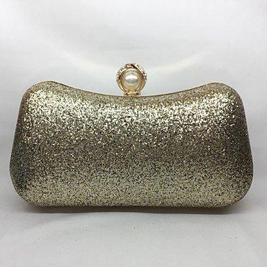 pwne Frauen Abend Tasche Metal All Seasons Event / Party Hobo Push Lock Silber Schwarz Gold Champagne Gold