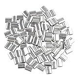 100pcs 2.5mm cavo fune metallica maniche alluminio ovale a forma di clip di piegatura anellini argentato