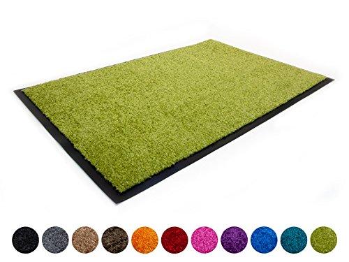 Primaflor - Ideen in Textil Schmutzfangmatte CLEAN – Grün 60cm x 180cm, Waschbare, Rutschfeste, Pflegeleichte Fußmatte, Eingangsmatte, Türvorleger für Innen & Außen