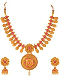 Zephyrr Jewellery Set Traditional Gold Plated Necklace Dangler Earrings Set With Pearls
