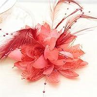 Ansteckblume mit Kunstfeder von Display08,für Hochzeit, Party, Handgelenk-, Haarband