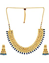 Shining Diva Jewelry Antique Gold Plated Fancy Party Wear Necklace For Women Traditional Jewellery Set With Earrings...