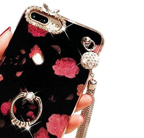 Coque pour iPhone 7 Plus, Vandot Luxe Bling Glitter Strass Diamant Miroir Housse Étui pour iPhone 7 Plus Pare-Chocs Complète Absorption Cas de Protection avec 360 Degrés de Rotation Ring Stand Holder  Fleur-2
