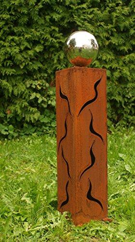 floristikvergleich.de Gartendeko Säule 60cm Gartenideen Rost Skulptur mit Edelstahlkugel