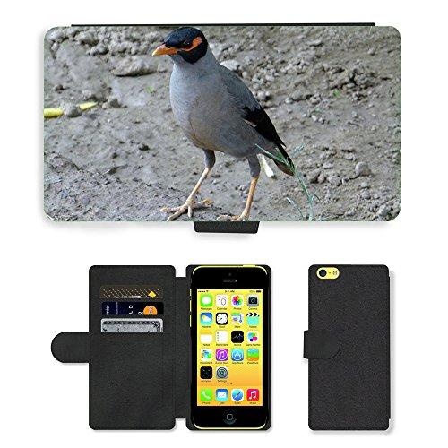 Just Mobile pour Hot Style Téléphone portable étui portefeuille en cuir PU avec fente pour carte//m00139105Banque triste passeriformes//Apple iPhone 5C