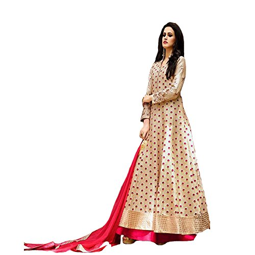 Gown(jsv fashion Women\'s Tapeta Silk Semi - Stitched floor length Free Size Gown Women\'s Clothing Dress for women wear Dress collection in latest Dress beautiful Dress for women party wear offer des