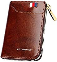 WILLIAMPOLO Men Wallets Short Genuine Leather Credit Card Holder Zipper Small Money Coin Purse