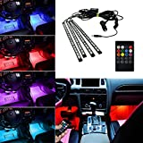 BRTLX LED Auto Innenbeleuchtung Atmosphäre Dekorative LED Strip Licht Satz RGB 12V 4 x 18 LEDs mit Sound Aktiv Funktion Universal Einrichtung