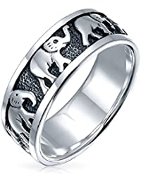 Bling Jewelry Estilo Plata de Ley 925 Suerte Elefantes Animal anillo