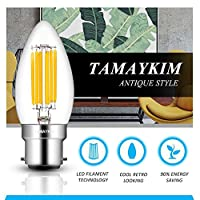 TAMAYKIM 6W Dimmable LED Filament Candle Light Bulb, 2700K Warm White 600LM, B22 Bayonet Cap Chandelier Lamp, C35 Torpedo Shape Bullet Top, 60W Incandescent Replacement , 6 Pack by TAMAYKIM
