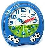 Kinderwecker Jungen ohne Ticken mit Armbanduhr Fußball Blau - Atlanta 1719-5 KAU von Atlanta