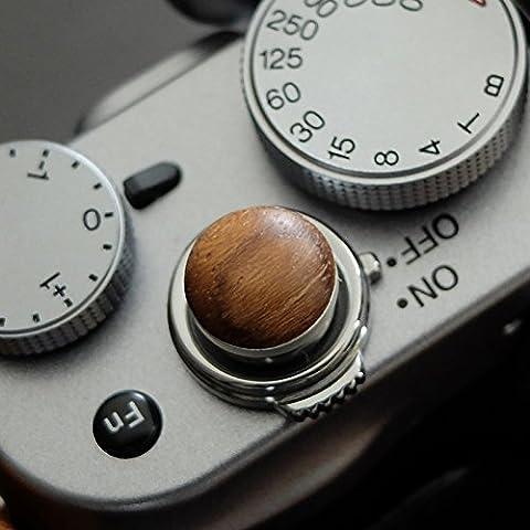 Soft Déclencheur en aluminium/ bois- Teck (convexe, 10mm) pour Leica M-Serie, Fuji X100, X100S, X100T, X10, X20, X30, X-Pro1, X-Pro2, X-E1, X-E2, X-E2S et tous les appareils photos avec la bouche filetage conique