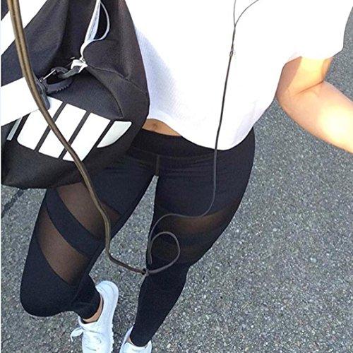 Amlaiworld Pantalons de sport Transparent Leggings de sport, Yoga, Pilates, planche, Jogging et fitness Noir