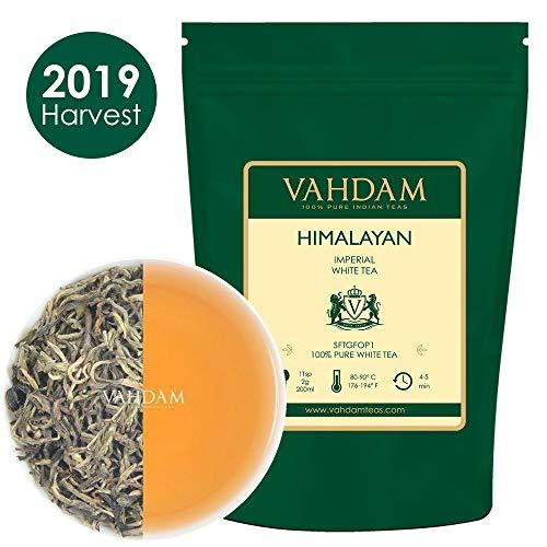 Tè bianco imperiale dell\'Himalaya in foglie - Il tè più sano al mondo, ricco di POTENTI ANTIOSSIDANTI, raccolto fresco a mano nel 2019 da piantagioni di alta quota, floreale e invitante, 25 Tazze
