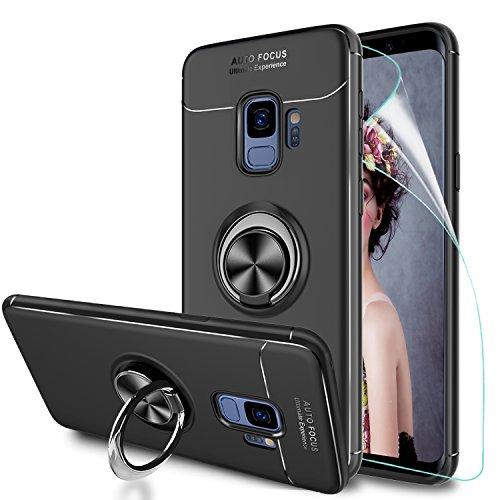 LeYi Hülle Galaxy S9 Handyhülle mit HD Folie Schutzfolie,Cover Bumper 360 Grad Ring Stand Magnetische Autohalterung Schutzhülle für Case Samsung Galaxy S9 Handy Hüllen JSZH Schwarz