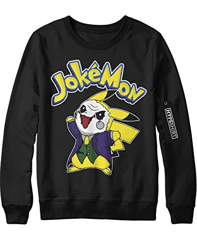 Sweatshirt Pokemon Go JokeMon Joker Mashup Batman Enemy 1996 Kanto Official Gym Leader X Y Nintendo Blue Red Yellow Plus Hype Nerd Game C123135 Schwarz XXL (Pokemon Misty Kostüm)