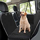 Taygeer Dog Car Seat Covers, Rear Car Seat Cover for Dogs with Mesh Viewing Window/Side Flaps Dog Hammock, Waterproof Heavy Duty Non-Slip Pet Seat Protector for Cars Trucks & SUV, 145 x 136 cm Black
