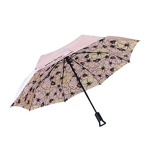 Machen Glanz clipgo Sonne & Regen Travel Automatischer Regenschirm, Rosa Blume, UV-Schutz