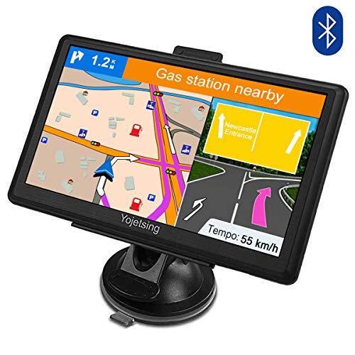 GPS Navi Bluetooth Navigation für Auto LKW PKW KFZ Navigationsgerät 7 Zoll Lebenslang Kostenloses Kartenupdate POI Blitzerwarnung Sprachführung Fahrspurassistent 2018 Europa UK Karte