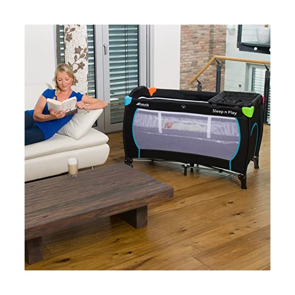 Hauck Sleep N Play Centre, 7-part Folding Travel Cot from Birth to 15 kg, Bassinet and Changing Top, Folding Mattress and Wheels, Side Opening, 120 x 60 cm, Multicolour Black Hauck Complete set - with bassinet, changing top, equipment bag, folding mattress, and transport bag, you will be fully equipped for all your travels with baby From birth - thanks to the new-born bassinet suitable to 9 kg, your baby sleep on a higher level with easy access; later, the bassinet is removed and the cot can be used up to 15 kg Mobility - with few actions only, this cot can be assembled and folded away compactly, making it very convenient for your next trip; thanks to wheels, you can also move it around in your house 6