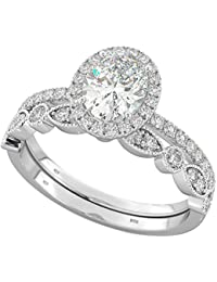 Ladies Ring - 925 Sterling Silver & Cubic Zirconia Oval Cut Wedding Engagement Bridal Ring Set
