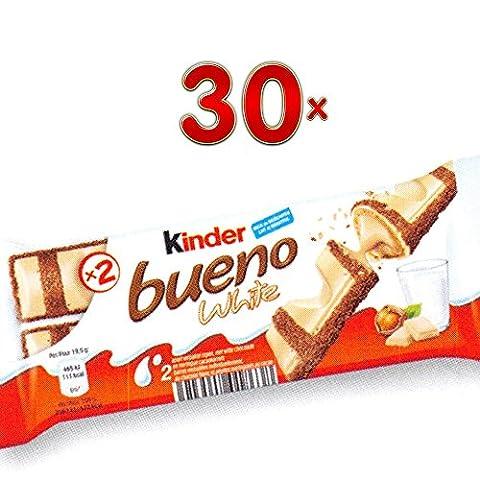 Kinder Bueno White Lait noisettes 30 x 39g Packung (Kinder Bueno-Riegel mit weißer Schokolade und