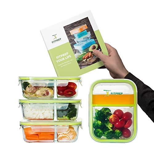 FITPREP® - Orginal Premium Glas Frischhaltedosen Set - Meal Prep Container, 4 x 1000 ml, Besonderheit -> 2 Dichte und komplett voneinander getrennte Kammern, inkl. Rezeptheft - 2 Komplett-box