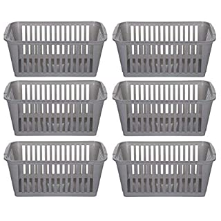 25cm Silver Plastic Handy Basket Storage Basket - Set Of 6