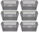 Set di 6 cesti contenitori in plastica, 30 cm, colore: argento