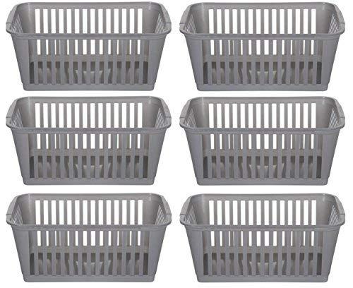 Lot de 6 paniers de rangement en plastique argenté, 37 cm