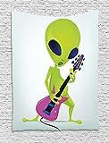 Die besten billige elektrische Gitarre - xhfitcltd Popstar Party Wandteppich, Cartoon Alien Charakter spielen Bewertungen