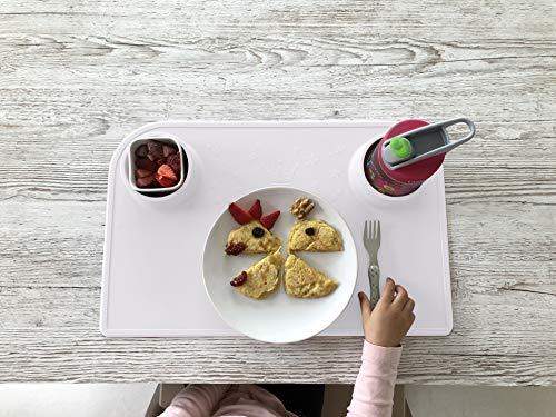 Bellivia eat & play pad (Weiß) - innovative Essunterlage & Bastelunterlage | Tischset, Platzmatte, Platzset für Kinder und Babies | rutschfest, abwaschbar, BPA-frei | gratis Baumwolltasche