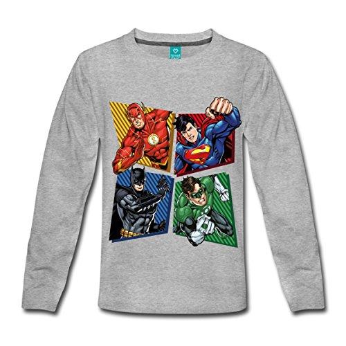 Spreadshirt DC Comics Justice League Superhelden Kinder Premium Langarmshirt, 122/128 (6 Jahre), Grau meliert