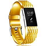HUMENN for Fitbit Charge 2 Strap, [Updated Version] Adjustable Replacement Sport Accessory Wristband for Fitbit Charge2 Small Gold