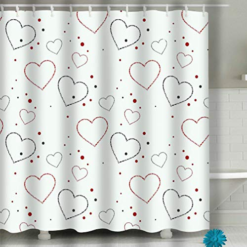 r Curtain, Long Water-Repellent and Mold- and Mildew-Resistant Liner for Master, Guest, Kid's, College Dorm 60x72 INCH Abstract Love Hearts Saint Valentines Day Cards ab ()