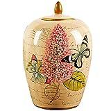 ANHPI-Urns Schmetterlings-Andenken-Begräbnis- Urnen for Asche-Verbrennungs-Erinnerungsgeprägte Keramik-Urne Siegelglas (Color : A)