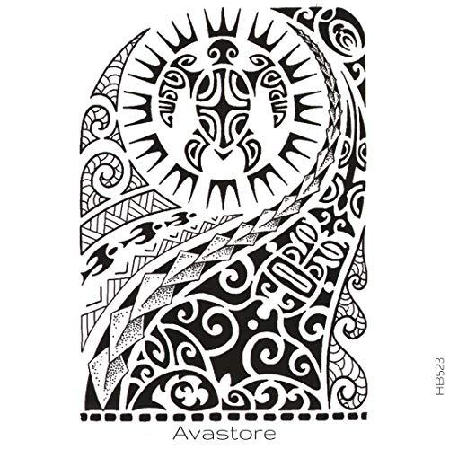 Avastore - tatuaggio temporaneo maori, con sole, tartaruga
