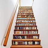 YSFU Wandsticker 13 Teile/Satz DIY 3D Treppe Aufkleber Bibliothek Bücherregal Muster Für Haus Treppe Dekoration Große Treppe Wandaufkleber