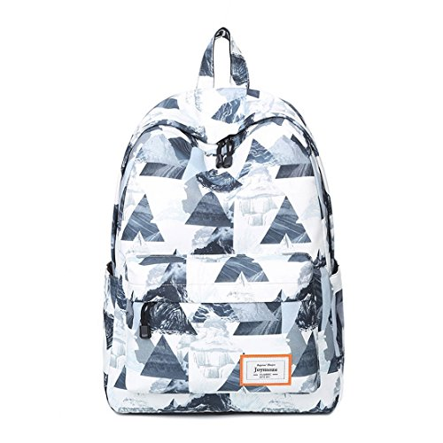 a11694529c14e Joymoze Unisex wasserdichter und bedruckter Fashion Rucksack Süß Schule  Buchtasche für Jungen und Mädchen Weißes Dreieck
