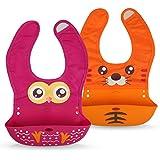 Premium Lätzchen für Babys aus weichem Silikon - mit Auffangschale - süßem Tier-Design- abwaschbar