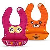 Premium Lätzchen für Babys aus weichem Silikon - mit Auffangschale - abwaschbar - süßem Tier-Design
